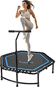 """Serene Life Fitness Exercise Rebounder Mini Trampoline - 48"""" Inch Jump Exercise Equipment with Adjustable"""
