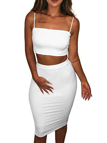 - TOB Women's Bodycon 2 Pieces Outfits Spaghetti Strap Crop Tank Top Midi Skirts White