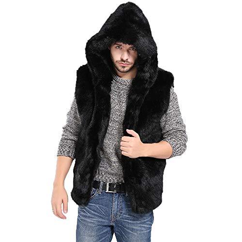 Sleeveless Fur - Transer- Men's Soft Fluffy Faux Fur Winter Warm Sleeveless Hooded Vest Gilet Waistcoat Hoodie Coat (Black, S)