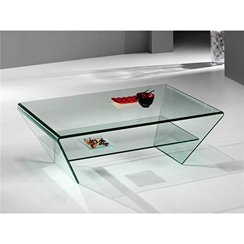 Mesa de Centro de Cristal Curvado Kylie 115 cm: Amazon.es: Hogar