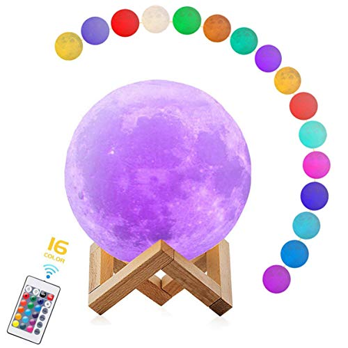 Moon Lamp,3D Print Moon Light with Stand & Remote & Touch Control, Moon Night Lights USB Rechargeable 16 Colors Home Decorative Lunar Lights for Nursery Room Decor, Creative Gift (5.9 inch)