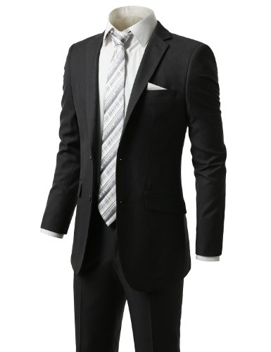IDARBI Mens Slim-Fit Pin-Striped Two-Piece Side-Vent Suit