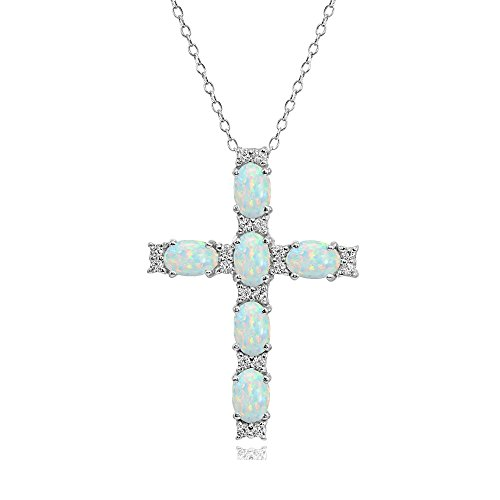 Sterling Silver Genuine, Created or Simulated Gemstone Oval-Cut Cross Pendant Necklace with White Topaz Accents