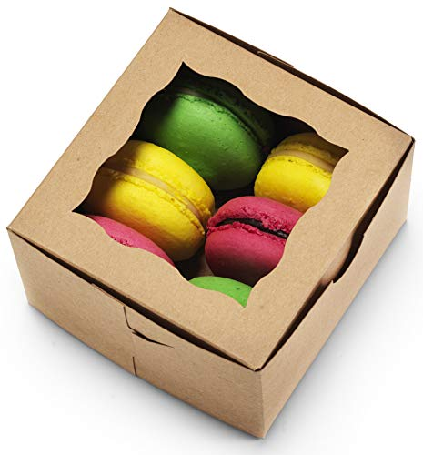 Mini Cake Boxes ([50Pack] Bakery Boxes with Window 4x4x2.5