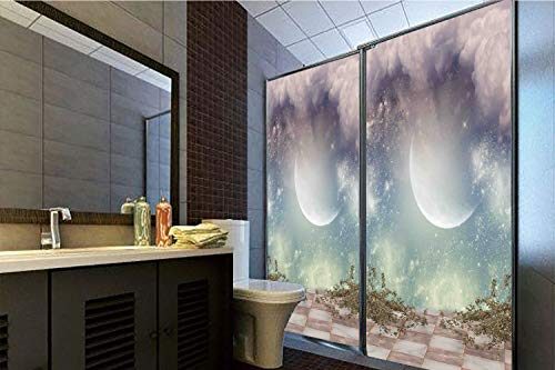 """Price comparison product image Horrisophie dodo 3D Privacy Window Film No Glue, Mystic Decor, Fantasy Landscape Stars Milky Way Half Moon Over The Sky View from Balcony, Turquoise Purple, 47.24"""" H x 23.62"""" W for Home&Office"""