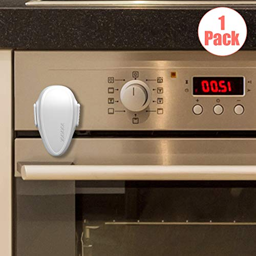 EUDEMON Childproof Oven Door Lock, Oven Front Lock Easy to Install and Use Durable and Heat-Resistant 3M Tapes no Tools Need or Drill (1 Pack,White)