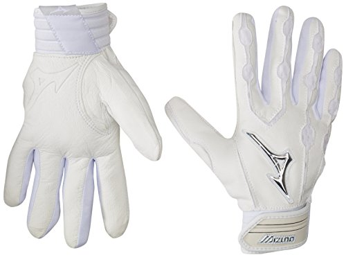 Mizuno Youth Covert Batting Gloves, White, Large