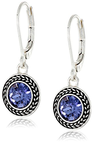 "Napier ""Color Declaration"" Silver-Tone Tanzanite Swarovski Leverback Drop Earrings"
