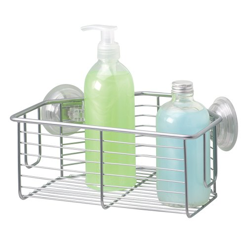 mDesign Bath Suction Corner Basket Shower Caddy, Storage for Shampoo, Conditioner, Soap - Silver