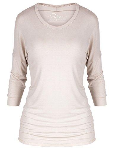 Sejora 3/4 Long Sleeve Dolman Tunic Top Batwing Shirt – Many Colors & Sizes (XXX-Large, Nude) (Plus Size Stretch T-shirt)