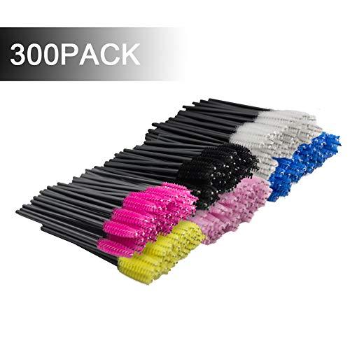 300 Pack Multicolor Disposable Eyelash Mascara Brushes Wands Applicator Makeup Brush Kits, 6 Colors ()