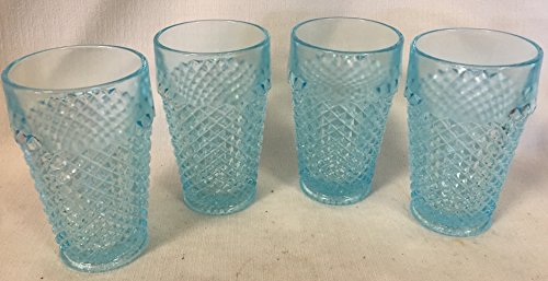 4 Tumblers - English Hobnail - Ice Blue Glass - made from Original Westmoreland Glass mould (Glass Blue Hobnail)