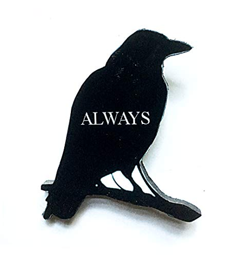 E.A. Poe Raven Pin Handcrafted Wooden Jewelry Brooch, Gothic Art, Literary Librarian Gift, Steampunk, Bird Magnet Silhouette Pin Halloween]()