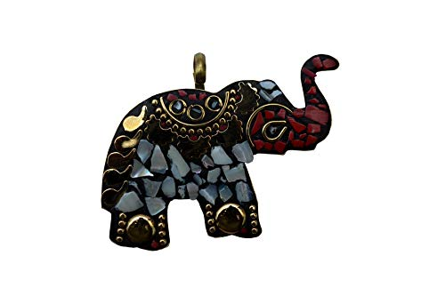 - JD&JD Tibetan Silver Mother of Pearl Coral Elephant Pendant Jewelry 2.5Inch