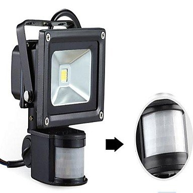 Generic-LED 10W Motion Sensor Floodlight Black Shell Aluminum 220V , White