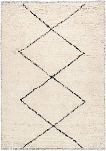 2001 Area Rug - Pasargad Home T-2001 Casablanca Moroccan Collection Hand-Knotted Wool Area Rug 8X10 Ivory