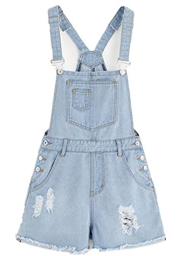Women's Vintage Ripped Distressed Denim Bib Strap Overall Shorts Romper (6, Light Blue 0)