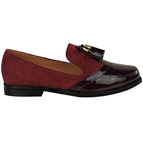 WOMENS TASSEL Thirsty BROGUES Faux LOAFERS Fashion Suede Patent FLAT PUMPS LADIES SIZE OFFICE VINTAGE Burgundy SHOES SCHOOL PEIwPxqBdn