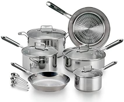 Amazon Com T Fal E759se Performa Pro Stainless Steel Dishwasher Safe Oven Safe Cookware Set 14 Piece Silver Kitchen Dining