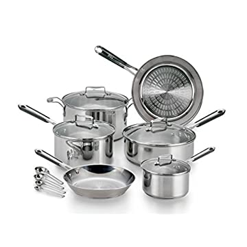Image of Home and Kitchen T-fal E759SE Performa Pro Stainless Steel Dishwasher Safe Oven Safe Cookware Set, 14-Piece, Silver