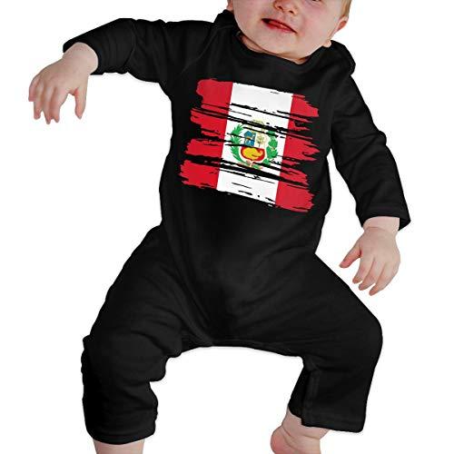 (UGFGF-S3 Grunge Peru Flag Newborn Baby Long Sleeve Bodysuit Coverall)