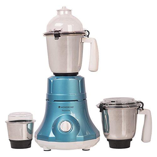 Wonderchef Premium 750-Watt Mixer Grinder with 3 Jars (Blue)