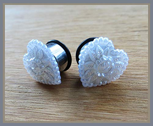 - Pearly Perennial Heart Wedding EAR TUNNEL PLUGS on stainless steel earrings pick gauge size 2g, 0g, 00g, 1/2