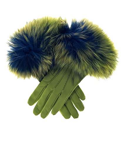 - Fratelli Orsini Women's Italian Fox Fur Cuff Cashmere LIned Leather Gloves Size 7 1/2 Color Green