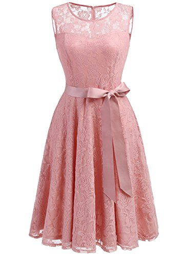 Dressystar DS0009 Women's Floral Lace Dress Short Bridesmaid Dresses With Sheer Neckline S Blush