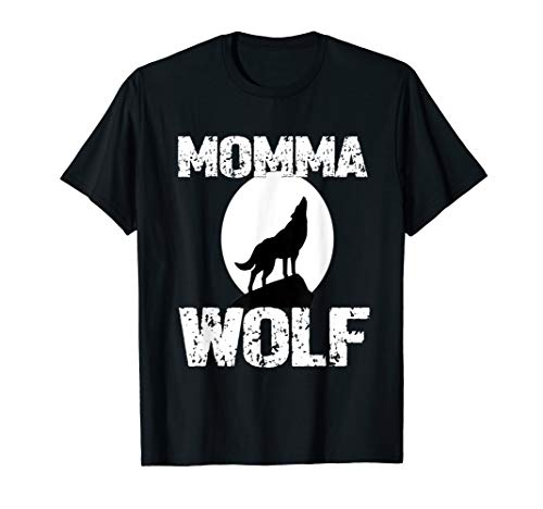 (Momma Wolf Shirt Matching Family Tribe Wolves Moon Mom Mum)