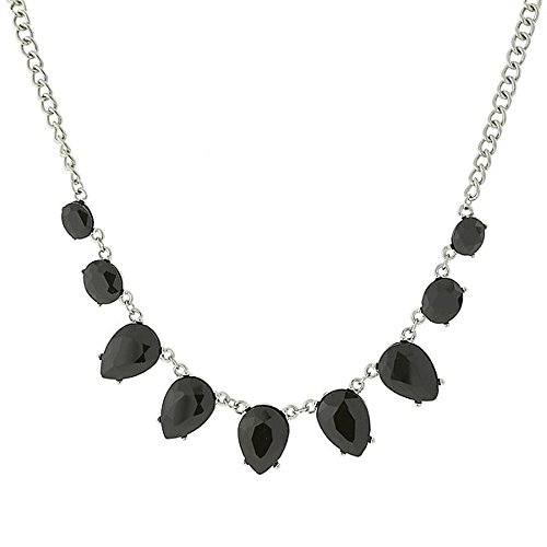 1928 Co. Silver-Tone Jet Black Faceted Collar Necklace N28