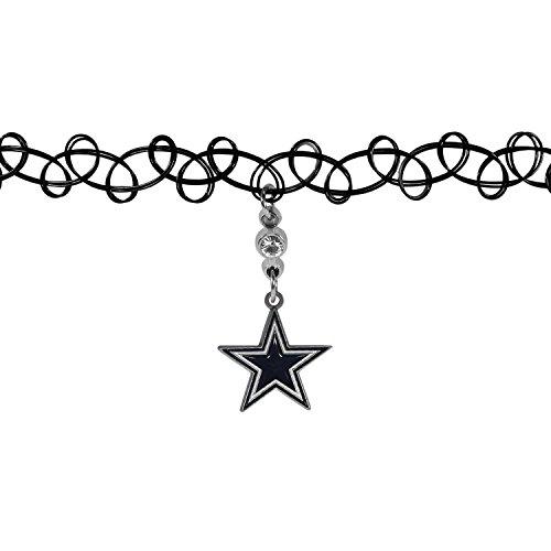 NFL Dallas Cowboys Knotted Choker, Black, (Dallas Cowboy Tattoos)