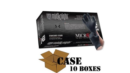 Microflex - Black MidKnight Nitrile Gloves-Case - Size: Small by Microflex