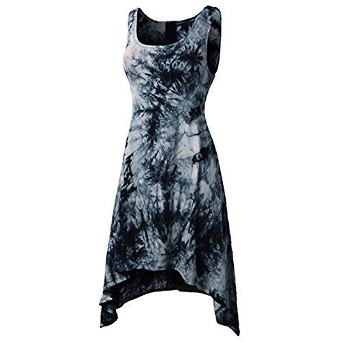 Las Vestido del sin L Irregular teñido de tamaño Mujeres del Dobladillo GotFeelin Mangas Mini Color Anudado Black 5FnPxP