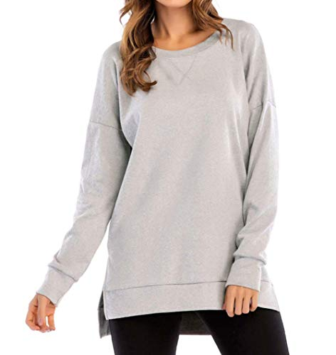 (PALINDA Women's Long Sleeve Crewneck Casual Side Split Loose Pullover Tunic Tops (S, Light Grey))