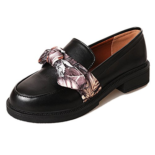 Btrada Womens Fashion Bowknot Ribbon Slip On Penny Loafers Round Toe Moccasins Driving Shoes Flat Shoes Black SpXk4