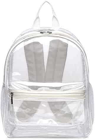 Clear Transparent School Backpack - Leather Adjustable Straps for Comfort -  Heavy Duty - Security Check fb2351d55a2b9
