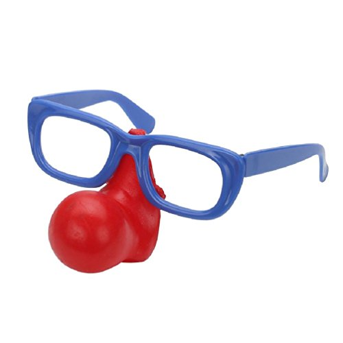 Ponce Fashion Fake Red Clown Nose Glasses Eyebrow Makeup Mask Joker Dress up Costume (Clown Nose Glasses)