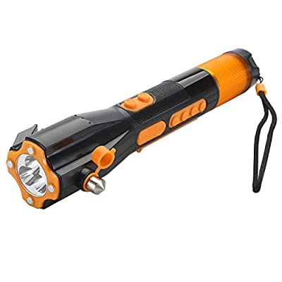 Emergency Radio Flashlight Water Resistant Window breaker ALL in ONE Rechargeable Survival tool Seat belt cutter Bright LED Hand crank USB cell phone charger Compass Survival Red flasher from FOCO.ST