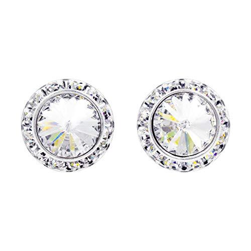 #14998 18mm Rondel with Rivoli Button Earrings ()
