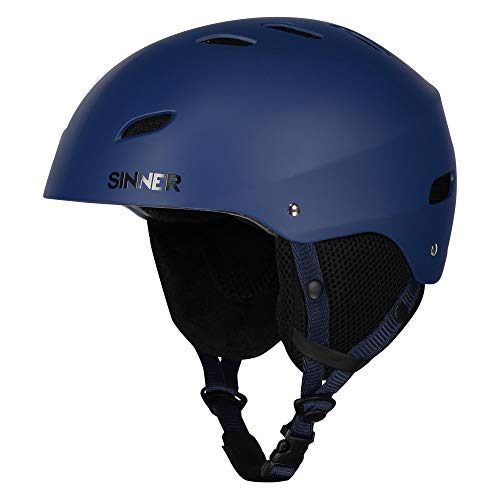 (SINNER Bingham Unisex Outdoor Snow Sports Snowboard & Ski Helmet Blue for Men, Women & Youth - Light Weight, Style Performance & Safety. Comfortable with Adjustable fit. Size (L))