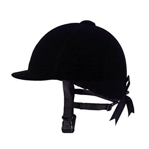 (UNISTRENGH Equestrian Hat Helmet Velvet Comfy Horse Riding Hats Breathable Horse Riding Helmets (Black 01(For womens), 22.44-23.62inch (57-60cm)))