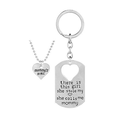 There is This Girl Who Stole My Heart She Calls Me Daddy Mommy Matching Heart Pendant Necklace Keychain Set