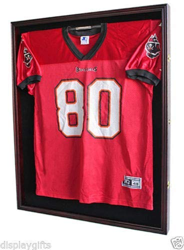 XX Large Football/Hockey Uniform Jersey Display Case Frame, UV Protection Ultra Clear, Locks (Mahogany)