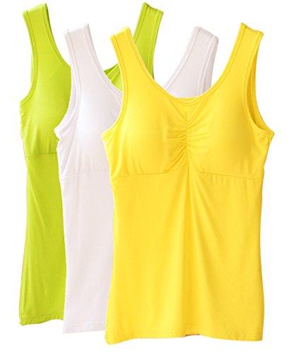 Vogue of Eden - Camiseta sin mangas - para mujer White-Yellow-Light Green