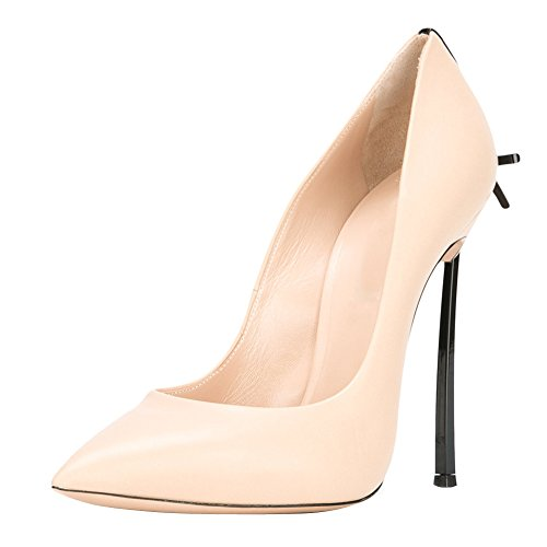 BalaMasa Womens Two-Toned Low-Cut Uppers Pointed-Toe Urethane Pumps Shoes