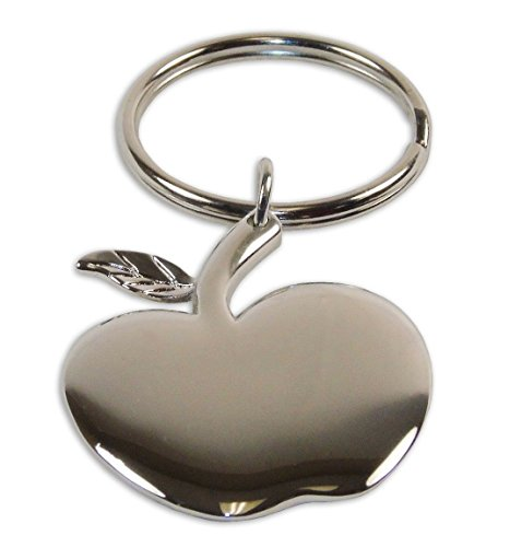Beautiful Silver-Toned Apple Charm Keychain, Apple Silver Charm, Backpack Keychain, Best Keychain Apple Shape Charm Gift, Apple Logo, Souvenir Keychain.