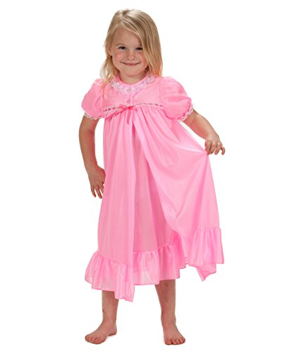 Laura Dare Little Girls Bright Pink Short Sleeve Tradition Peignoir Set, 2T -