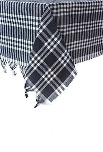 Madame Gayda Tablecloth Checkered Buffalo Check Plaid Linen Cotton Picnic Blanket Table Cover Mantel Black (Black, 63x63 inches)