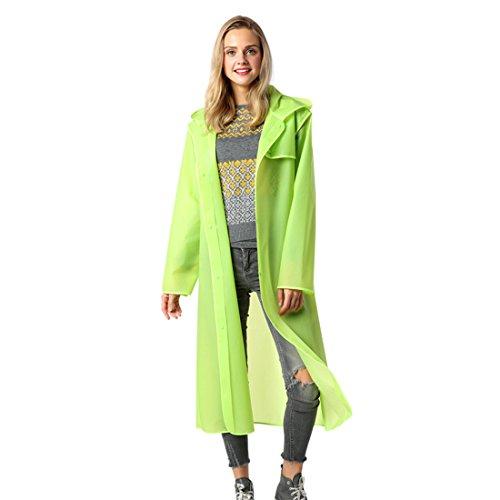 Gwell Adulte Manteau de Pluie Poncho Pluie Femme Homme Vêtement à Capuche Imperméable Long Vert